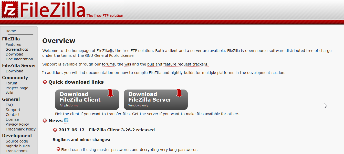 Filezilla FTP Client Solution