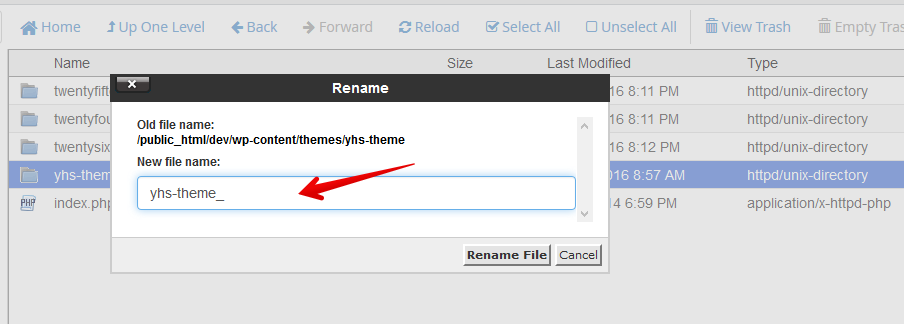 Disable WordPress Themes via cPanel File Manager: